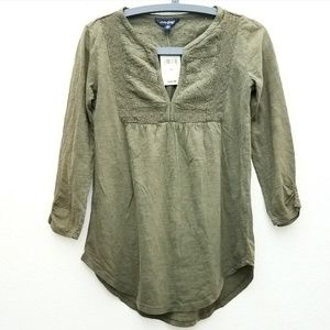 Lucky Brand Olive Green 3/4 Sleeve Peasant Top